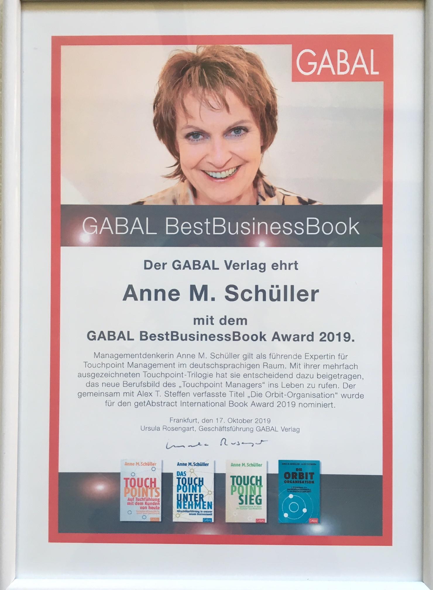 BestBusinessBook Award für Anne M. Schüller